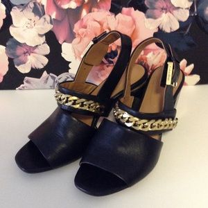 Calvin Klein Gold Chain Black Leather Heel Sandals